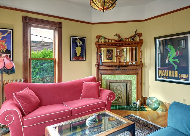 Comfortable living room with period art and decor