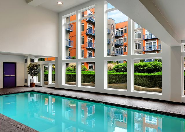 Swimming pool looks out onto the courtyard