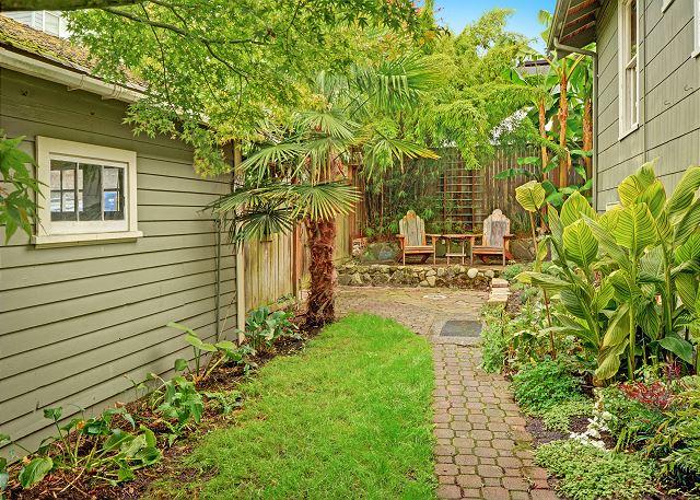 Nicely landscaped backyard area