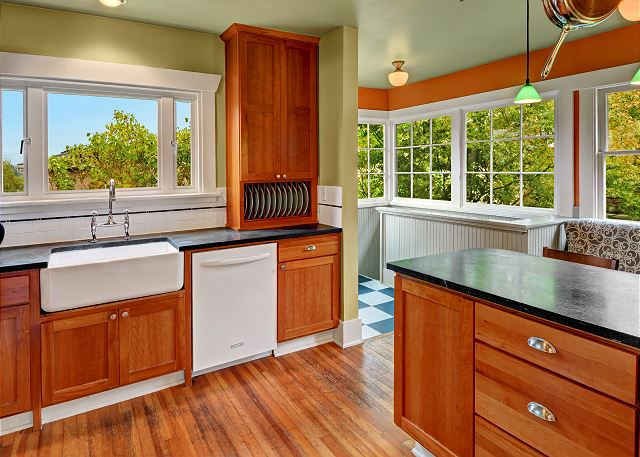 Remodeled kitchen with farmhouse sink