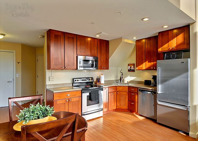 Top notch appliances and beautiful cabinetry.