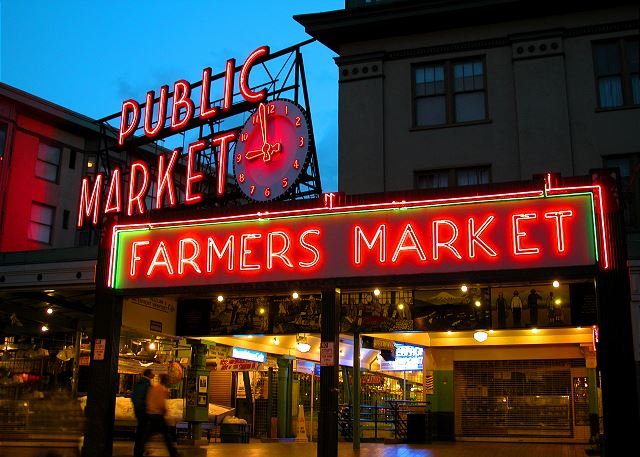 Pike Place Market is just downstairs with fresh flowers, produce, the famous fish throwers, and the original Starbucks!