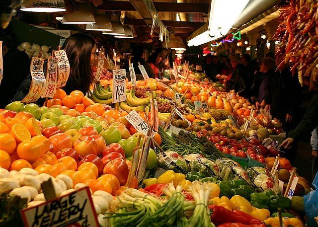 Get fresh fruits and vegetables at Pike Place for dinner