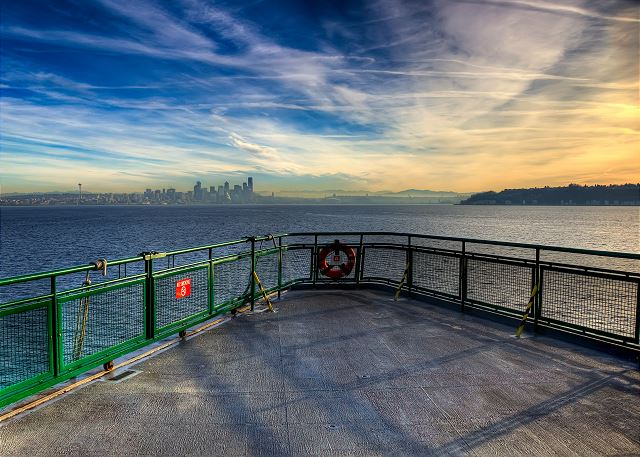 Take in the skyline from the deck of a Washington State Ferry!