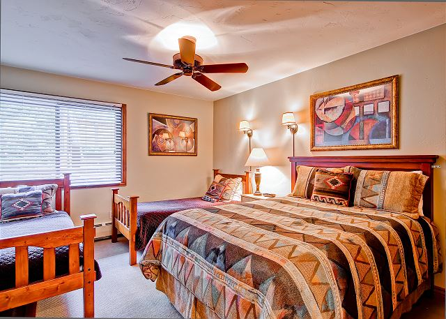 Second bedroom has it's own private bathroom.  This bedroom has a queen and 2 twin beds.