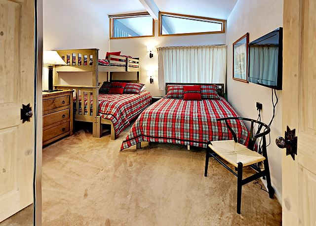 Second bedroom has a queen, with a bunk which is double/twin bed.