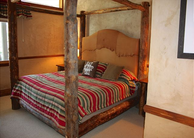 Huge king bed with a private bathroom