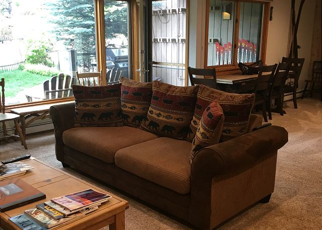 Easy access to our pool and hot tubs.  Patio has a gas grill with seating.  One of the better locations in Snowmass Village.