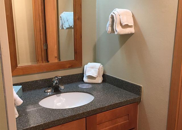 Bathroom vanity in second bedroom