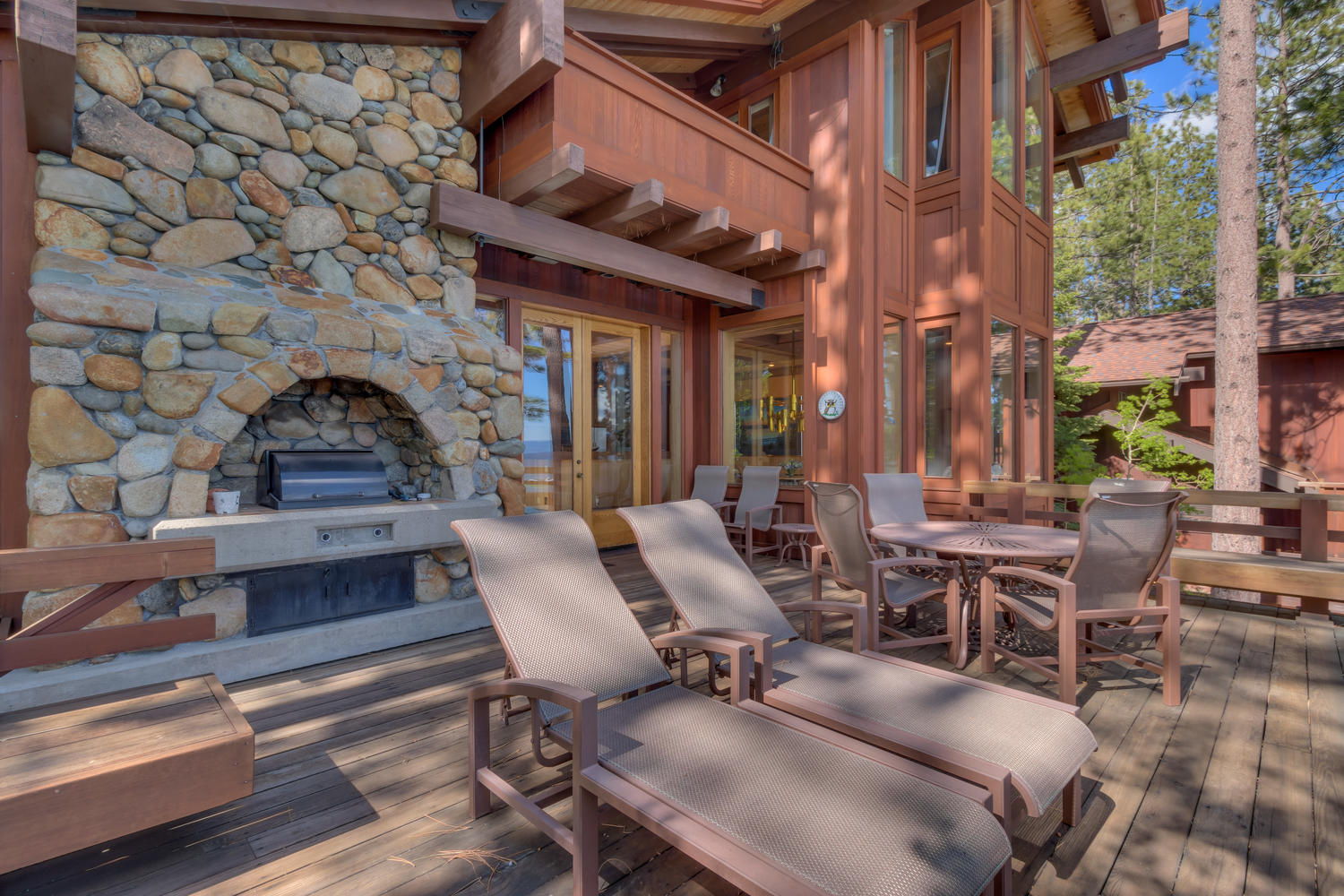 Outdoor fireplace at Whispering pines Tahoe City rental