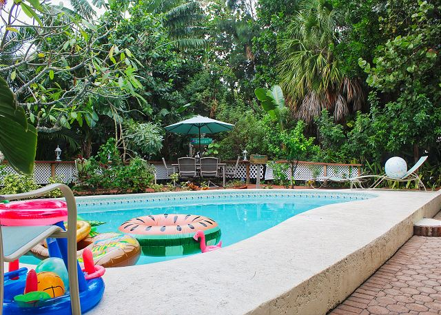 The pool is communal, shared by all guests, there are also floats and toys for kids of all sizes