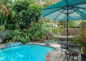Poolside facing the tropical garden