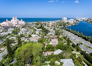 Aerial view entering St. Pete Beach, the Don CeSar is just 2 blocks from the home