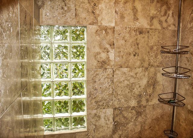 The block glass offers diffused light into the bath, colors of the green tropicals peeking through.
