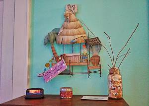 Whimsy touches add to the light fun feeling of this wonderful space in the bedroom