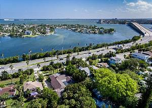 Aerial view of the Bayway to St. Pete Beach