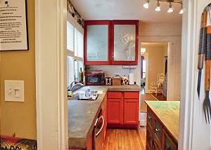 Standing at the pantry door looking back into the kitchen