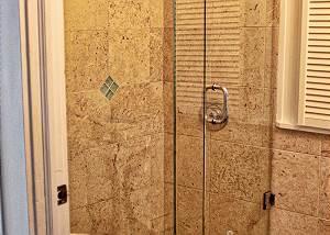 The West end bedroom ensuite bath on the upper level, large standup shower