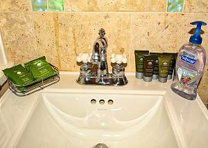 The West end bedroom ensuite bath on the upper level, Toiletries are supplied