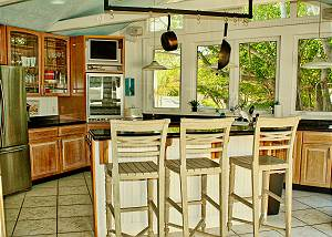 Kitchen view from the dining area leading in