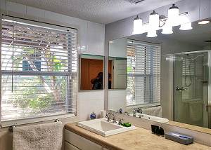The lower level bath sink and vanity