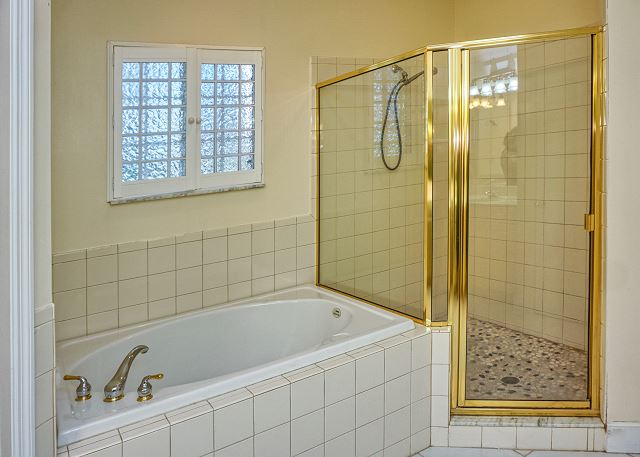 Master Bath soaking tub with very spacious standup shower.