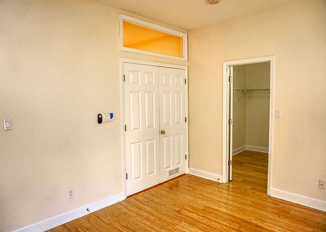 Double entry doors, this is a split plan, your master bedroom is to the right at the top of the stairs.