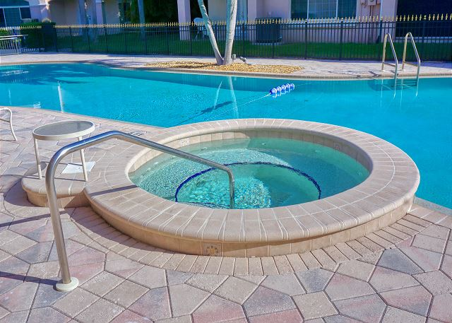 The Hot Tub is located mid way on the Club House side of the pool.