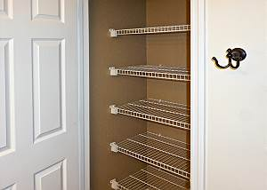 A large storage closet for linens is in the upstairs Guest Bath.