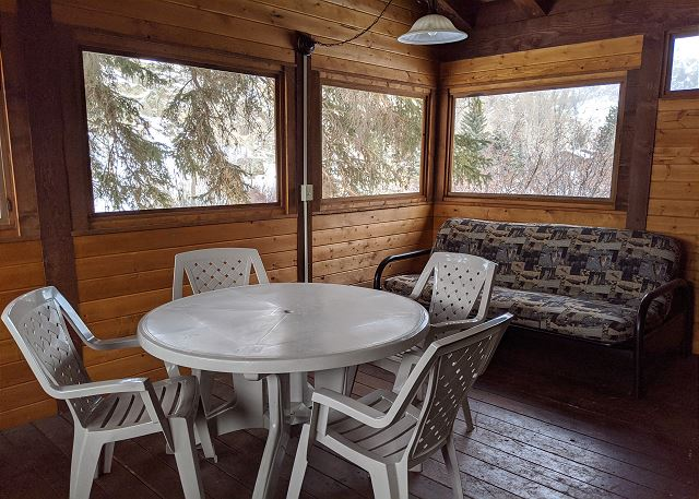 Screened in porch on river side