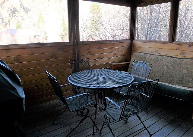 Screened in porch w/ grill, futon