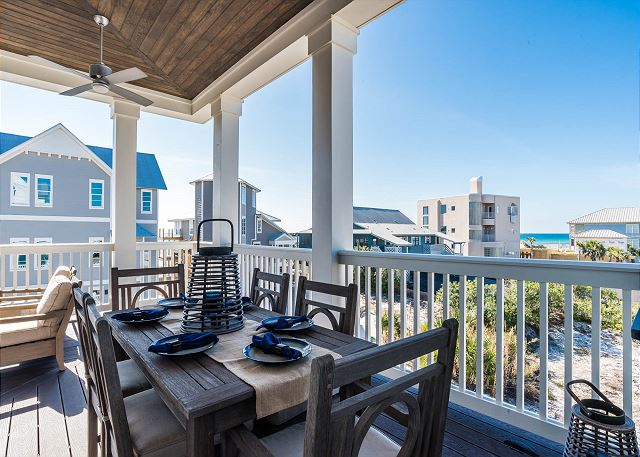 Third Floor: Porch with Outdoor Dining and Gulf Views