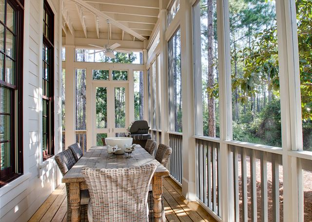First Floor: Screened Porch with Outdoor Dining and Grill