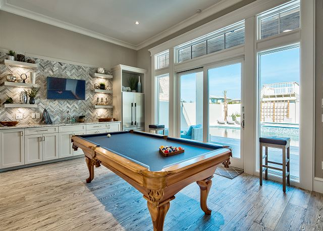 First Floor: Game Room that overlooks the Private Pool