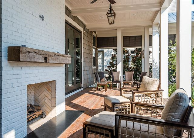 Outdoor Fireplace with Sitting Area