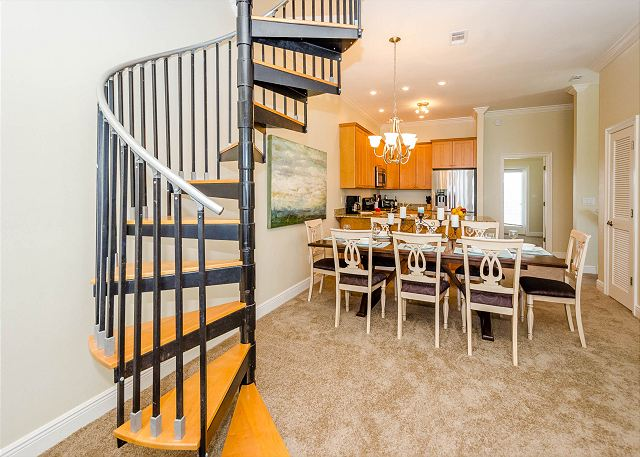 Dining Area and Spiral Staircase