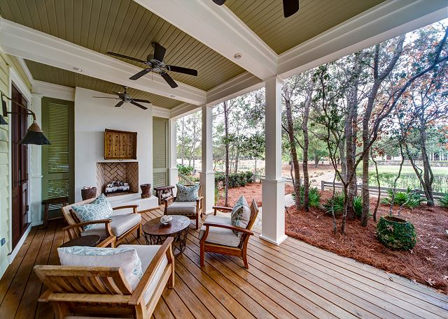 Front Porch with Outdoor Fireplace