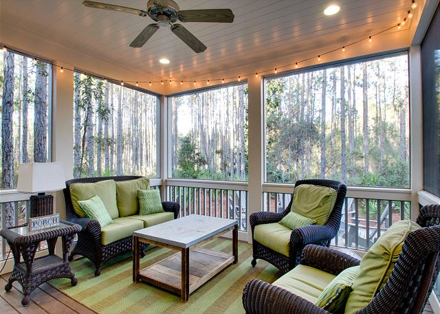 First Floor: Screened Porch with Sitting Area
