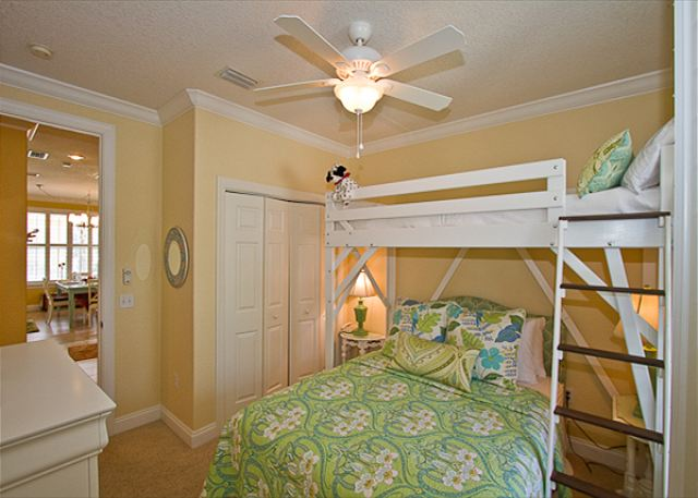 Guest Bedroom with Twin over Queen Bunk Bed