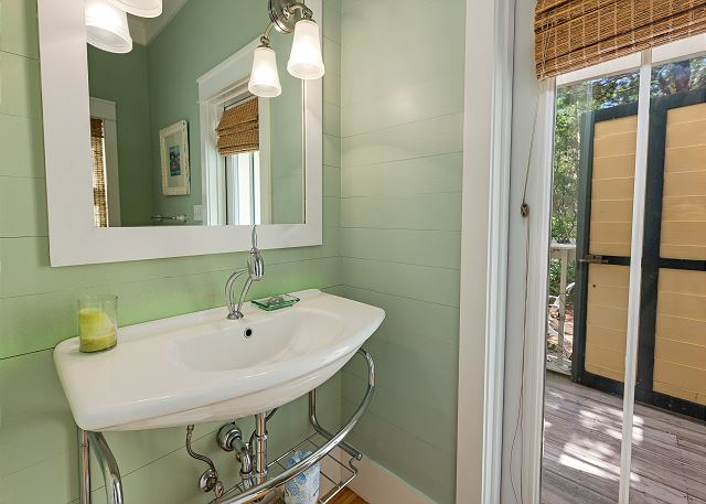 First Floor: Powder Room with Outdoor Shower