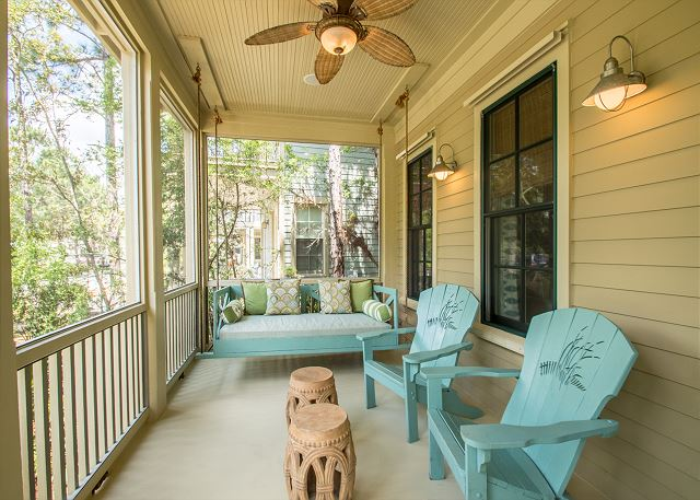 Screened Front Porch with Bed Swing