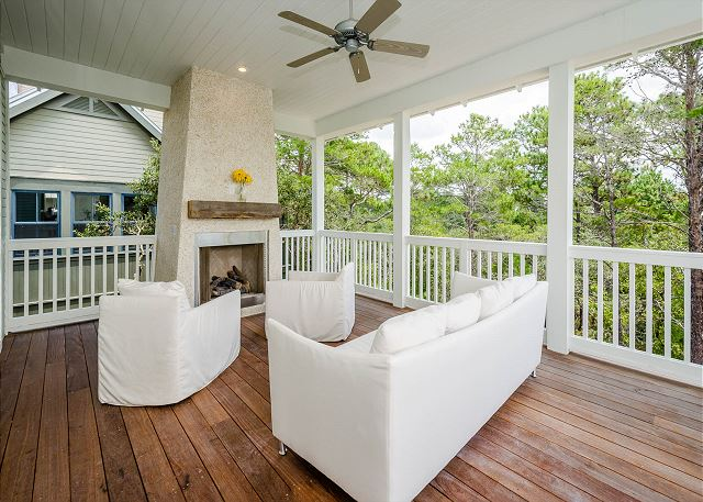 Second Floor Porch and Outdoor Fireplace