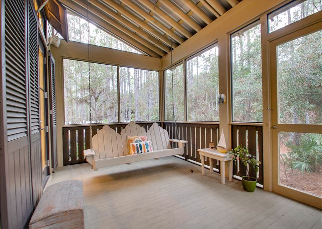 Back Screened Porch with Swing