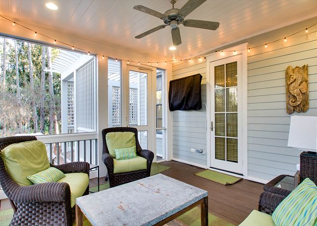 Screened Porch with Outdoor TV and Sitting Area