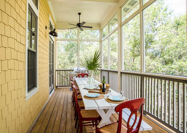 Second Floor: Screened in Porch Dining Area