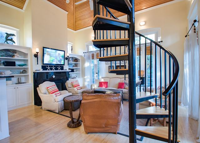 Second Floor: Spiral Stairs in Living Room