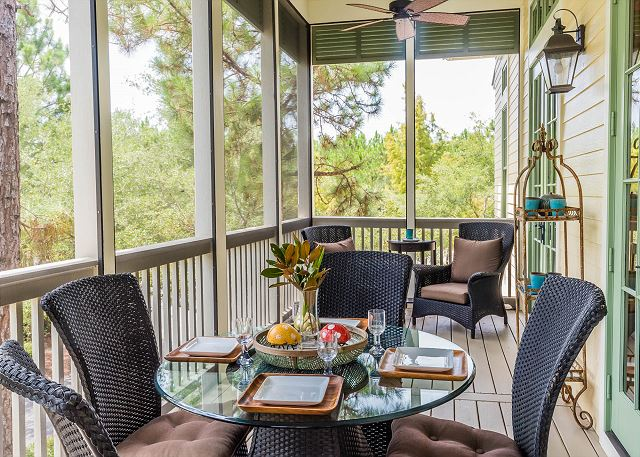 Second Floor: Screened Porch with Outdoor Dining Space
