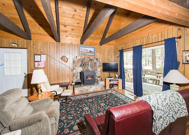 South Lake Tahoe CA Vacation Rental Cross-beamed ceilings and