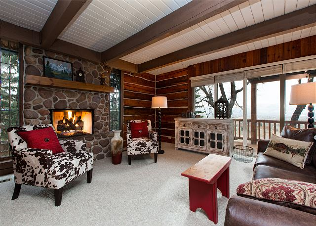Midway UT Vacation Rental Wood-burning fireplace with