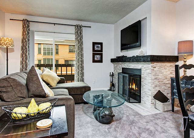 Park City UT Vacation Rental The wood-burning fireplace